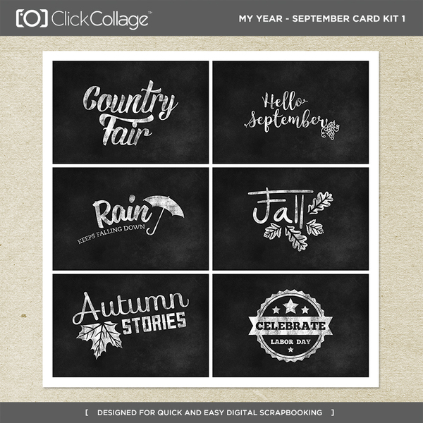 My Year - September Card Kit 1 Digital Art - Digital Scrapbooking Kits