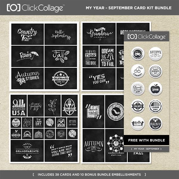 My Year - September Card Kit Bundle Digital Art - Digital Scrapbooking Kits
