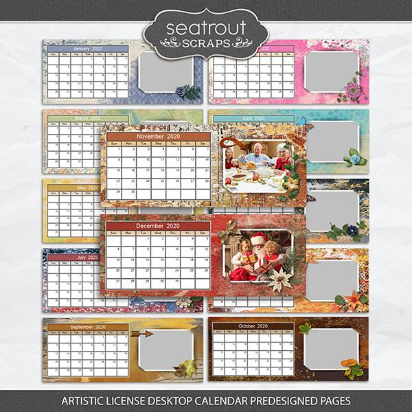 Artistic License Desktop Calendar Predesigned Pages Digital Art - Digital Scrapbooking Kits