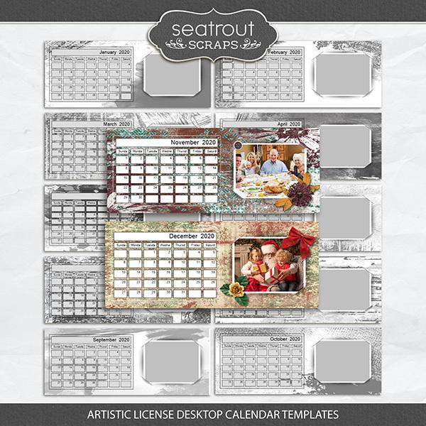 Artistic License Desktop Calendar Templates Digital Art - Digital Scrapbooking Kits