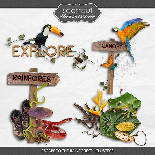 Escape to the Rainforest - Clusters Digital Art - Digital Scrapbooking Kits