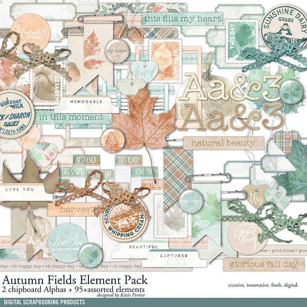 Autumn Fields Element Pack Digital Art - Digital Scrapbooking Kits