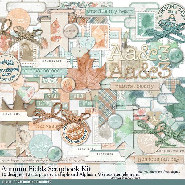 Autumn Fields Fall Scrapbook Kit Digital Art - Digital Scrapbooking Kits