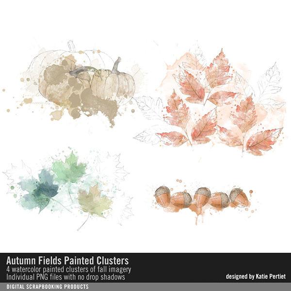 Autumn Fields Painted Clusters Digital Art - Digital Scrapbooking Kits