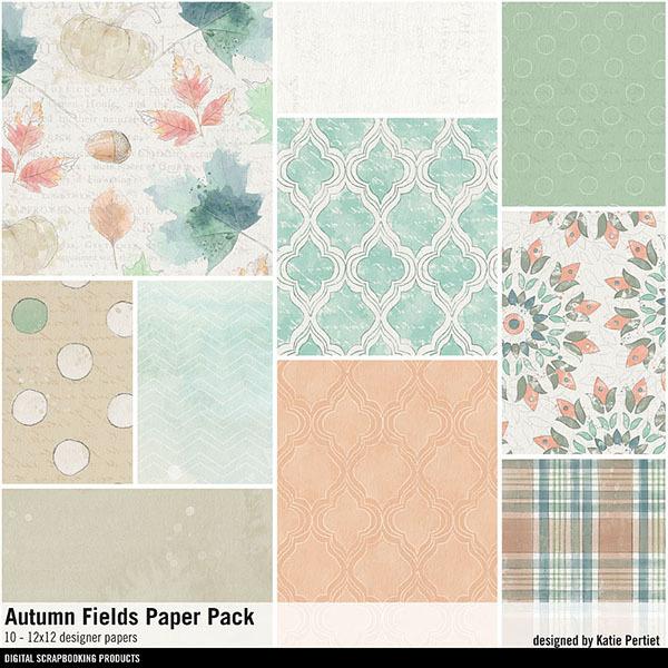 Autumn Fields Paper Pack Digital Art - Digital Scrapbooking Kits