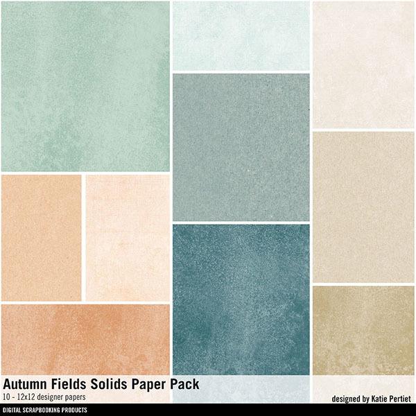 Autumn Fields Solids Paper Pack Digital Art - Digital Scrapbooking Kits