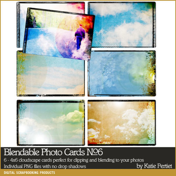 Blendable Photo Cards No. 06 Digital Art - Digital Scrapbooking Kits