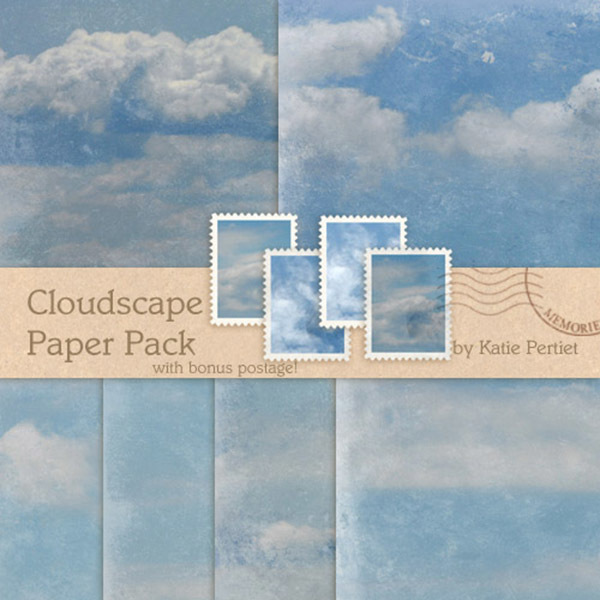 Cloudscapes No. 01 Paper Pack Digital Art - Digital Scrapbooking Kits