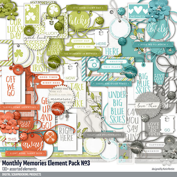 Monthly Memories Element Pack No. 03 Digital Art - Digital Scrapbooking Kits
