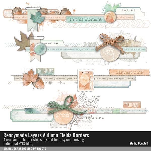Readymade Layers Autumn Fields Borders No. 01 Digital Art - Digital Scrapbooking Kits
