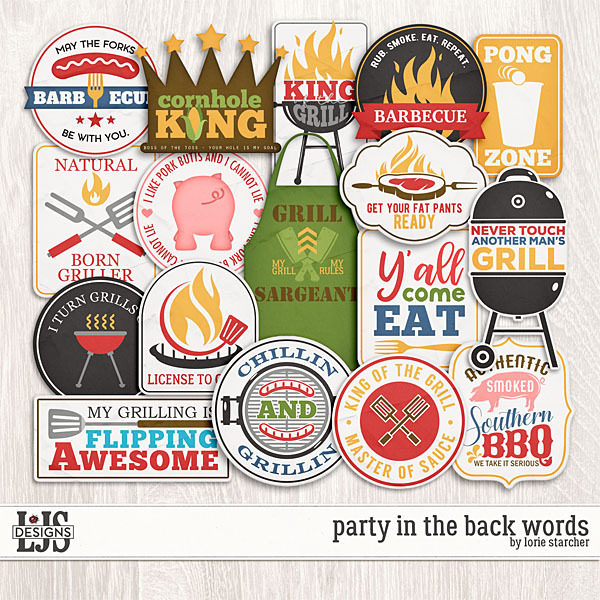 Party In The Back Words Digital Art - Digital Scrapbooking Kits