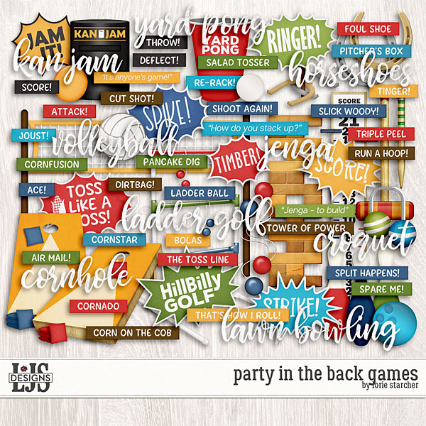 Party In The Back Games Digital Art - Digital Scrapbooking Kits