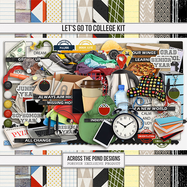 Let's Go To College Kit Digital Art - Digital Scrapbooking Kits