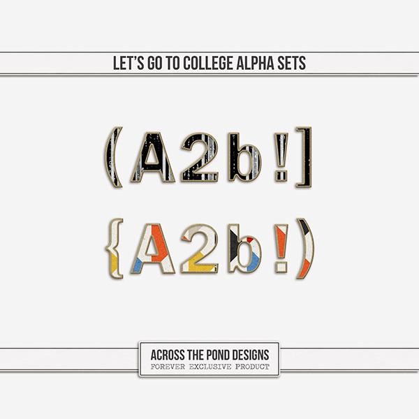 Let's Go To College Alpha Sets Digital Art - Digital Scrapbooking Kits