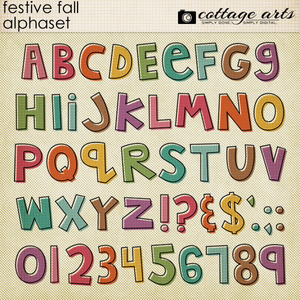 Festive Fall AlphaSet Digital Art - Digital Scrapbooking Kits