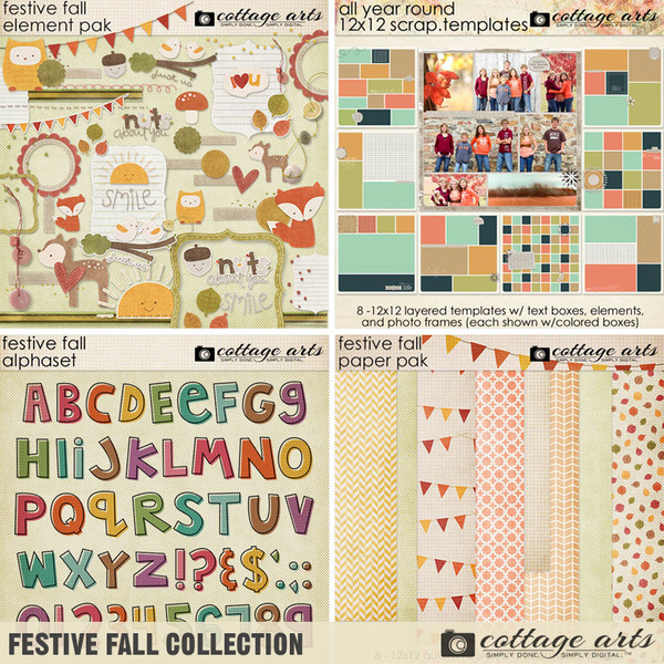 Festive Fall Collection Digital Art - Digital Scrapbooking Kits
