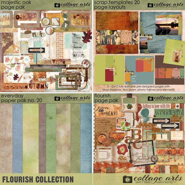 Flourish Collection Digital Art - Digital Scrapbooking Kits