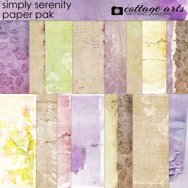 Simply Serenity Paper Pak Digital Art - Digital Scrapbooking Kits