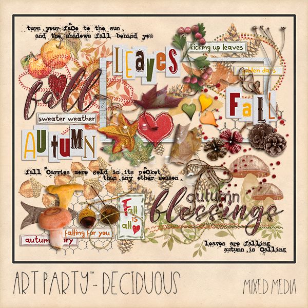 Deciduous Mixed Media Elements Digital Art - Digital Scrapbooking Kits