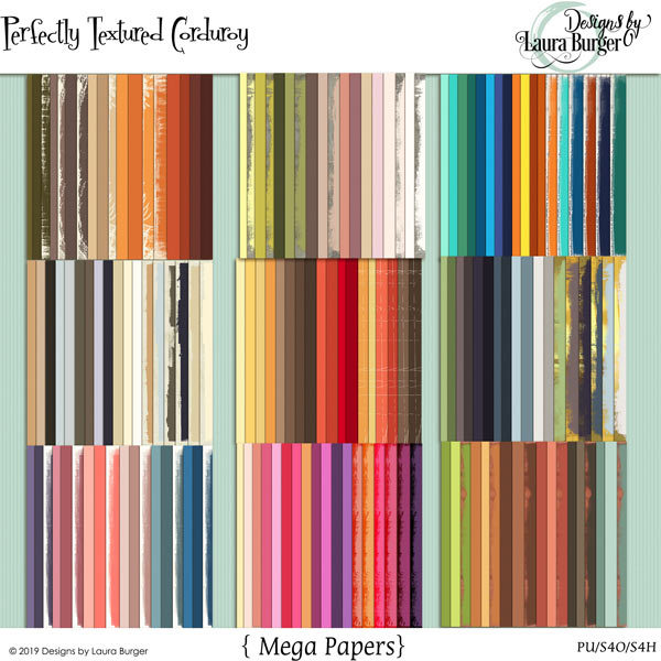 Perfectly Textured Corduroy Paper Bundle Digital Art - Digital Scrapbooking Kits
