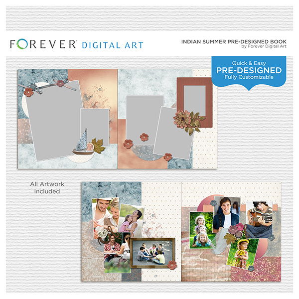 Indian Summer Pre-Designed Book Digital Art - Digital Scrapbooking Kits