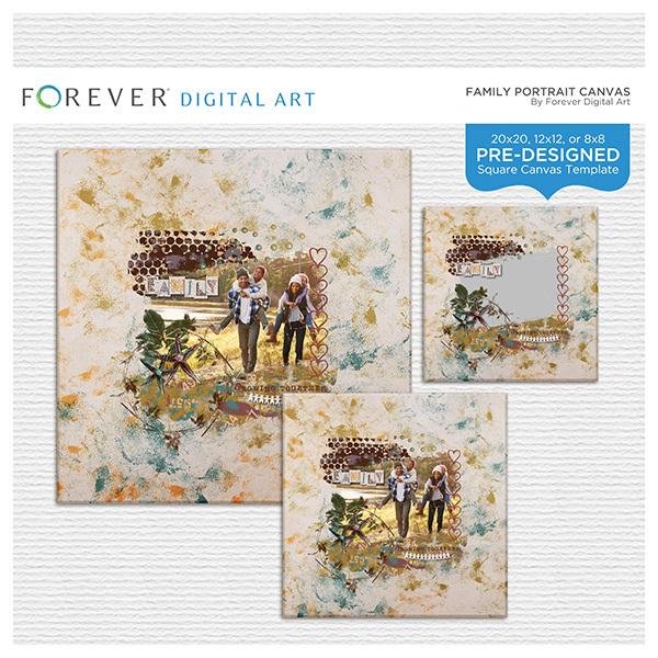 Family Portrait Pre-Designed Canvas Digital Art - Digital Scrapbooking Kits