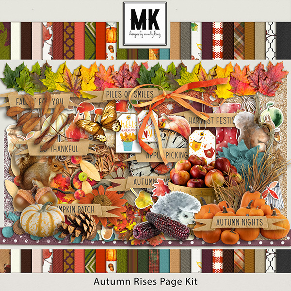 Autumn Rises Page Kit Digital Art - Digital Scrapbooking Kits