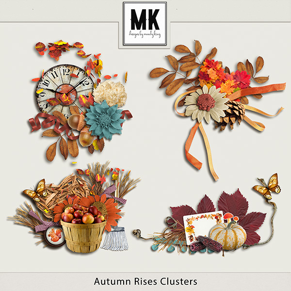 Autumn Rises Clusters Digital Art - Digital Scrapbooking Kits