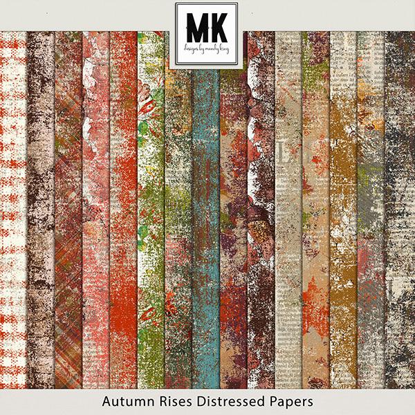 Autumn Rises Distressed Paper Pack Digital Art - Digital Scrapbooking Kits