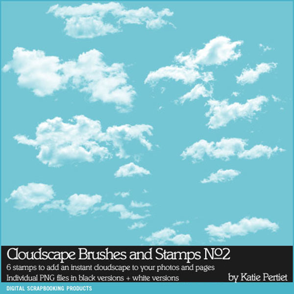 Cloudscape Brushes and Stamps No. 02 Digital Art - Digital Scrapbooking Kits