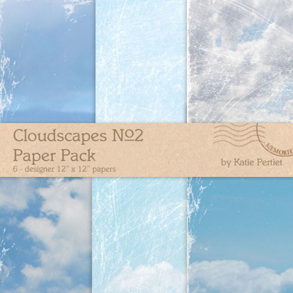 Cloudscapes No. 02 Paper Pack Digital Art - Digital Scrapbooking Kits