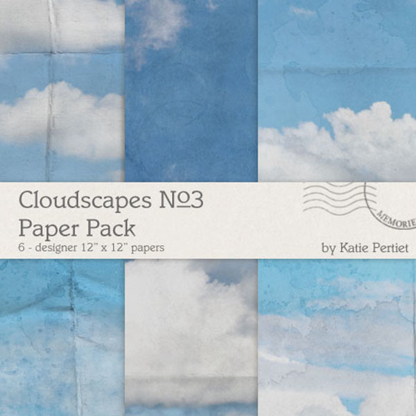 Cloudscapes No. 03 Paper Pack Digital Art - Digital Scrapbooking Kits