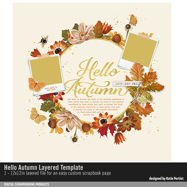 Hello Autumn Layered Template Digital Art - Digital Scrapbooking Kits