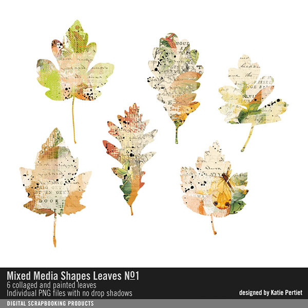 Mixed Media Shapes Leaves No. 01 Digital Art - Digital Scrapbooking Kits