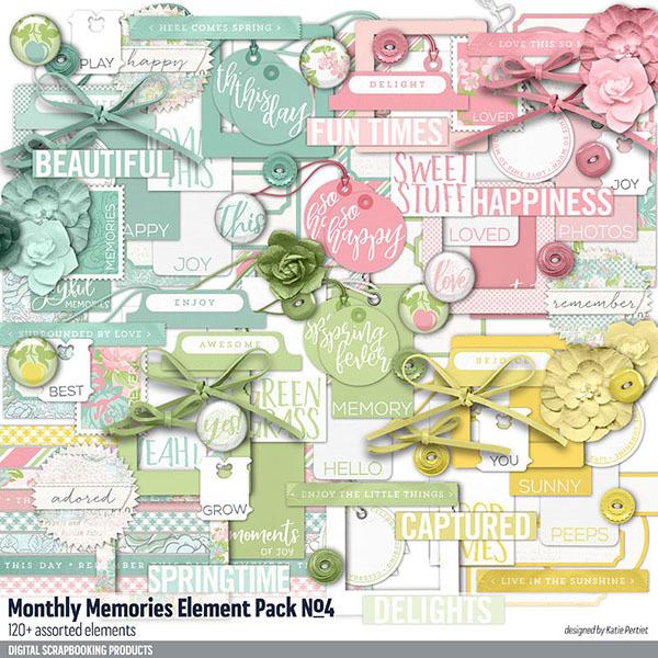 Monthly Memories Element Pack No. 04 Digital Art - Digital Scrapbooking Kits