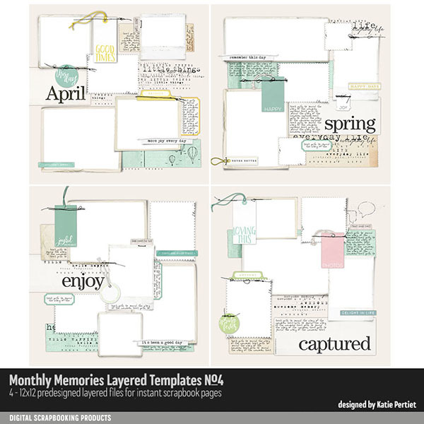 Monthly Memories Layered Template Pack No. 04 Digital Art - Digital Scrapbooking Kits