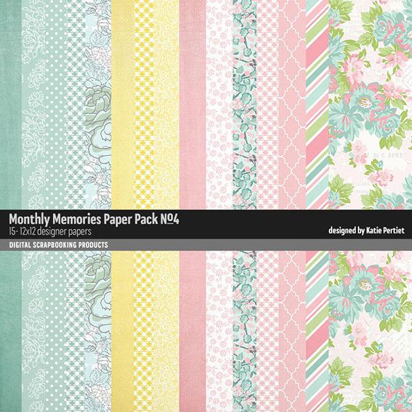 Monthly Memories Paper Pack No. 04 Digital Art - Digital Scrapbooking Kits