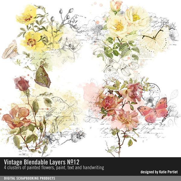Vintage Blendable Layers No. 12 Digital Art - Digital Scrapbooking Kits