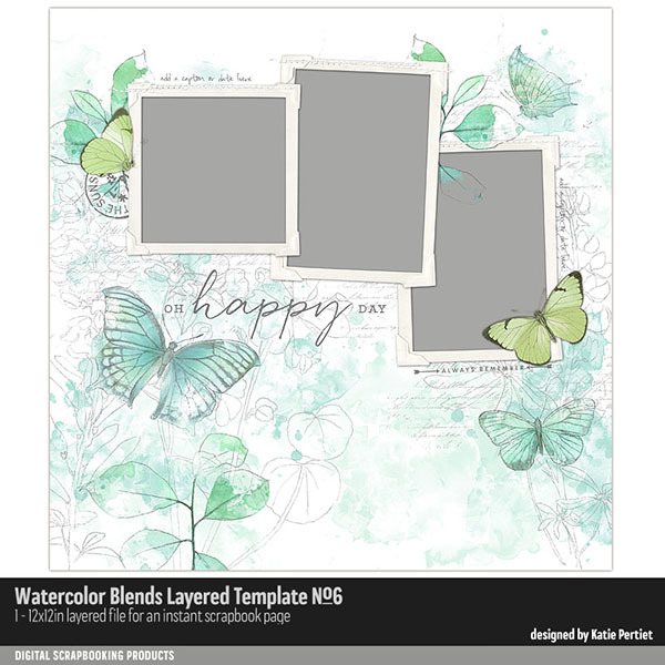 Watercolor Blends Layered Template No. 06 Digital Art - Digital Scrapbooking Kits
