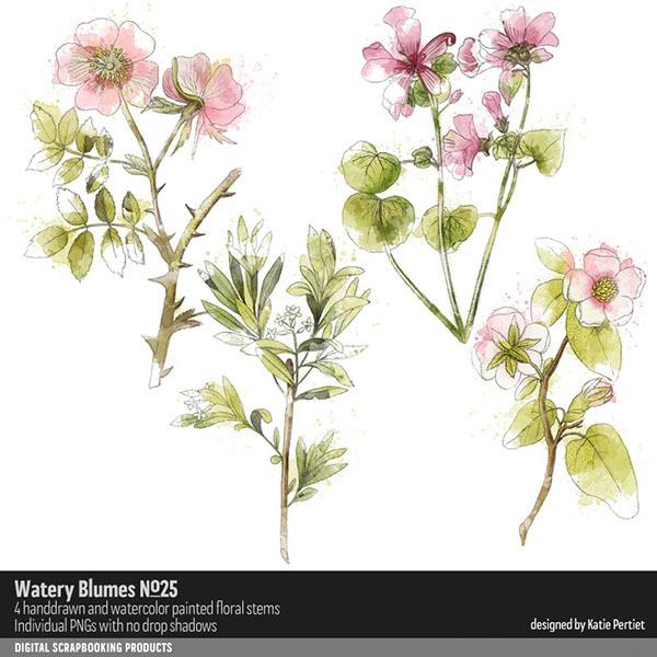 Watery Blumes No. 25 Digital Art - Digital Scrapbooking Kits