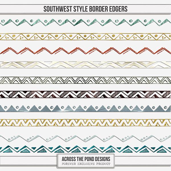 Southwest Style Edgers Digital Art - Digital Scrapbooking Kits