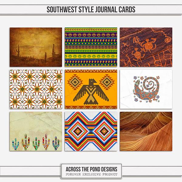 Southwest Style Journal Cards Digital Art - Digital Scrapbooking Kits
