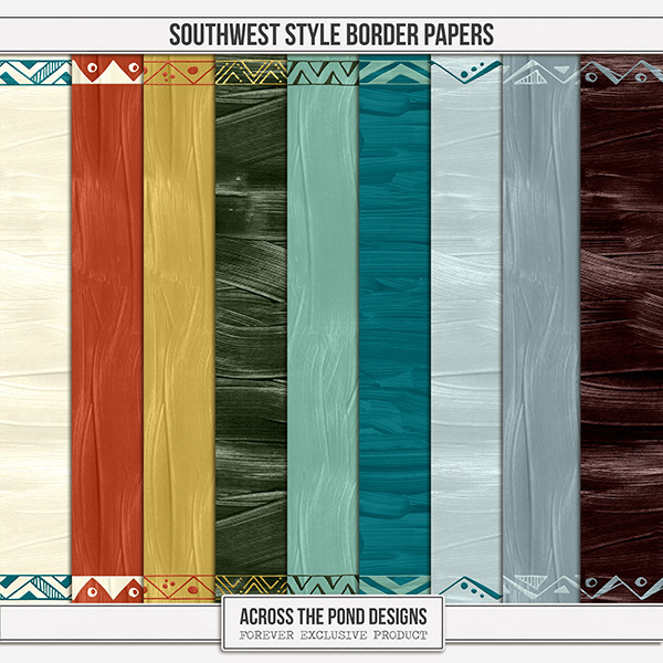 Southwest Style Border Papers Digital Art - Digital Scrapbooking Kits