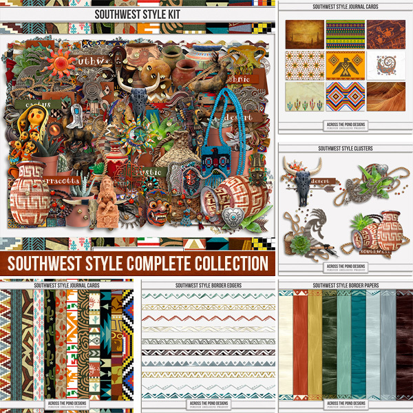 Southwest Style Completed Collection Digital Art - Digital Scrapbooking Kits