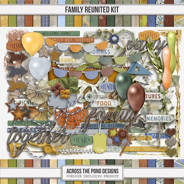 Reunited Page Kit Digital Art - Digital Scrapbooking Kits
