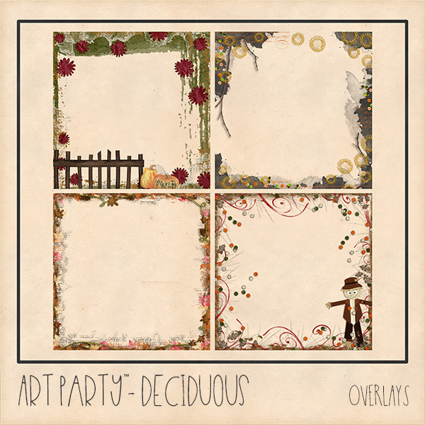 Deciduous Overlays Digital Art - Digital Scrapbooking Kits