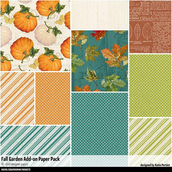 Fall Garden Add-On Paper Pack Digital Art - Digital Scrapbooking Kits