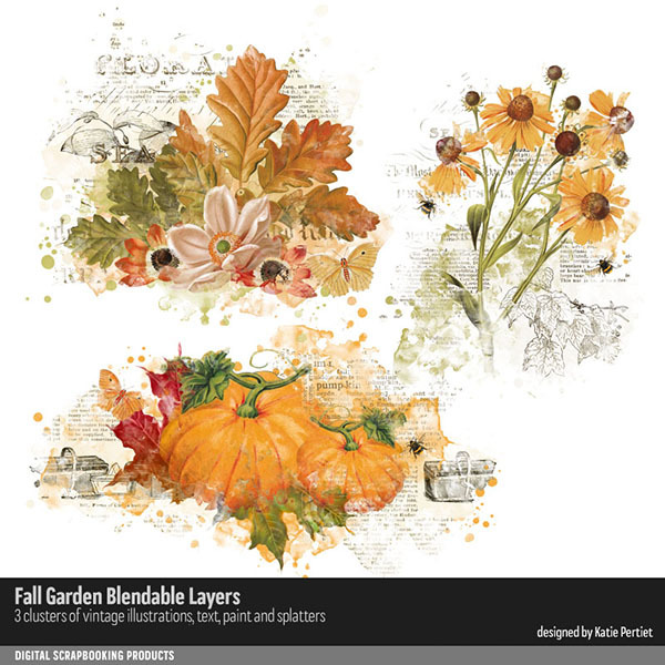 Fall Garden Blendable Layers Digital Art - Digital Scrapbooking Kits