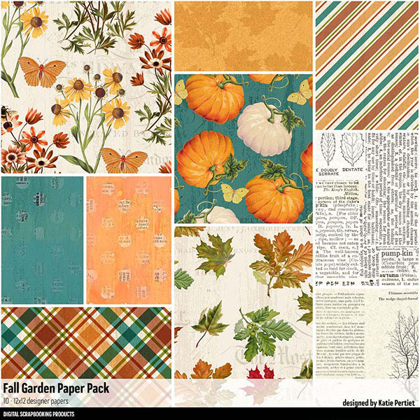 Fall Garden Paper Pack Digital Art - Digital Scrapbooking Kits