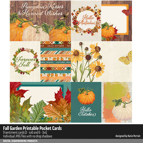Fall Garden Printable Pocket Cards Digital Art - Digital Scrapbooking Kits